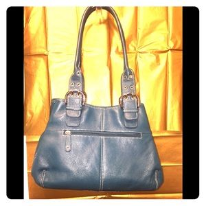 Tignanello's Blue Leather Shoulder Bag